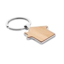 Porte-clés maison métal bambou
