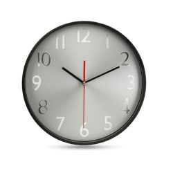 Horloge murale fond argent